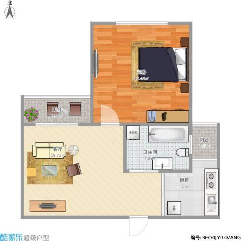 南新东园1室1厅1卫1厨66.00㎡户型图