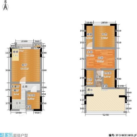 帝豪丽都1室2厅2卫0厨68.64㎡户型图