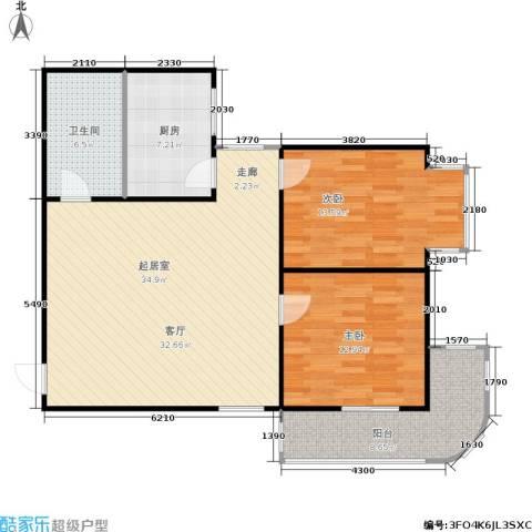 铭湖景园2期2室0厅1卫1厨92.00㎡户型图