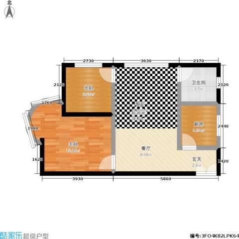 志龙大厦2室0厅1卫1厨56.00㎡户型图