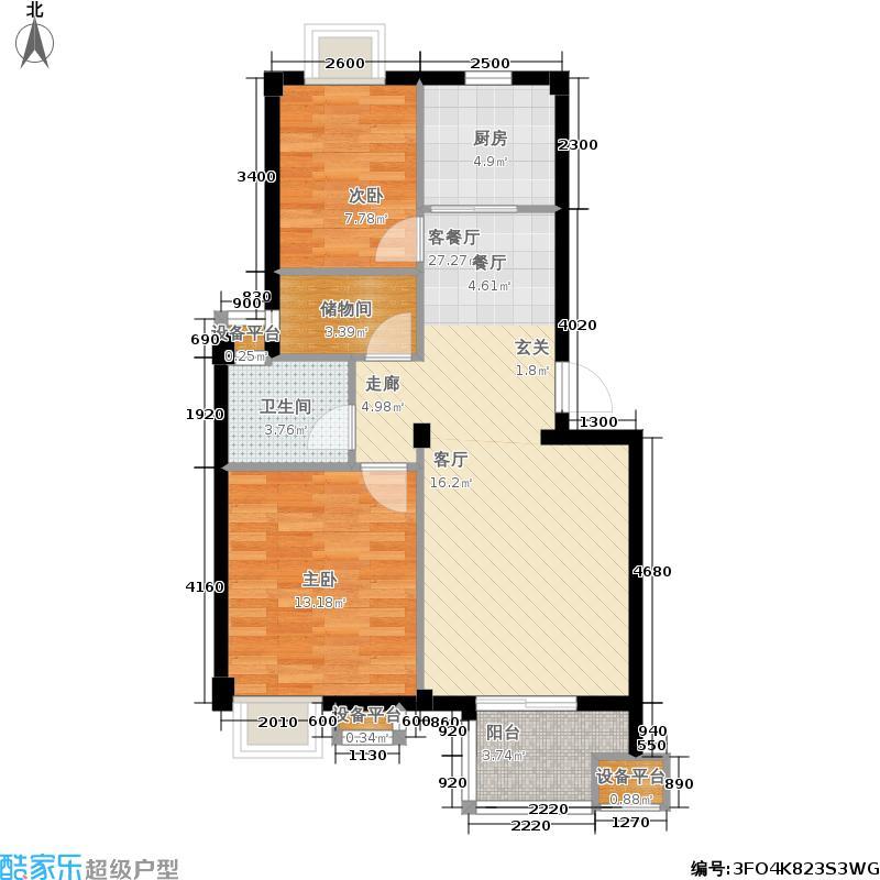 瑞园户型2室1厅1卫1厨
