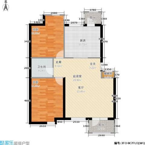 香格里拉2室0厅1卫1厨91.00㎡户型图