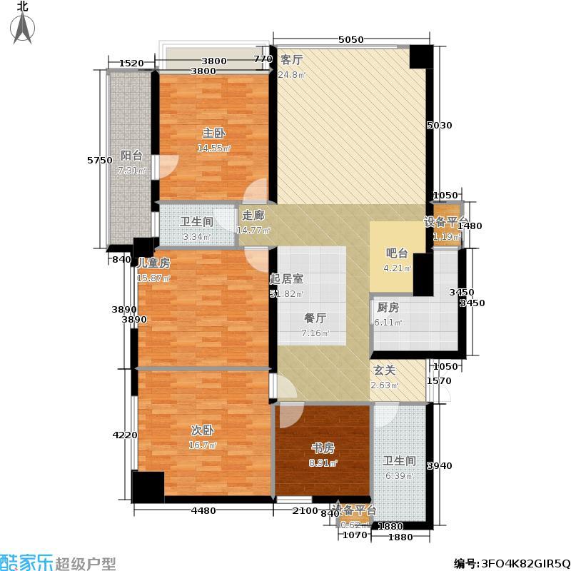 银联中央融都公寓158.00㎡户型
