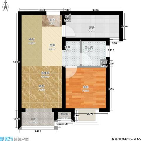 富地广场1室1厅1卫1厨56.00㎡户型图