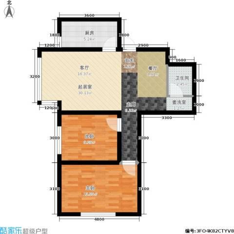 纳帕阳光2室0厅1卫1厨86.00㎡户型图