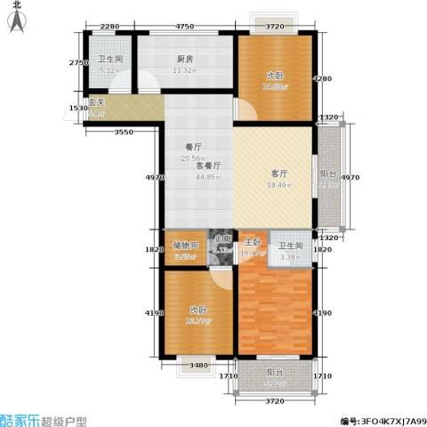 槐苑欣城3室1厅2卫1厨136.00㎡户型图