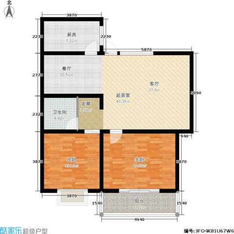 槐苑欣城2室0厅1卫1厨88.37㎡户型图