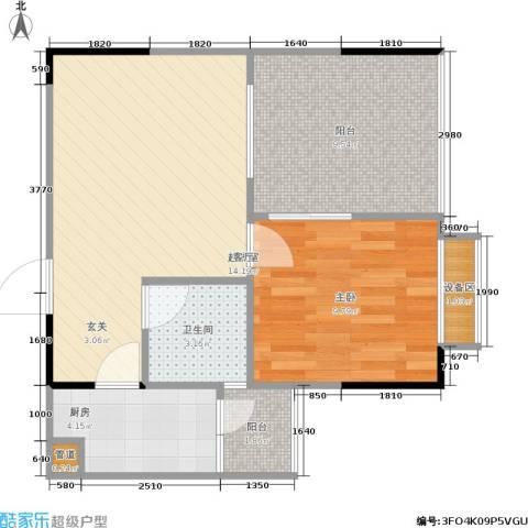 顺盛雅苑1室0厅1卫1厨47.01㎡户型图
