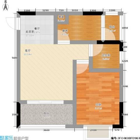 黄金堡宫1室0厅1卫1厨44.00㎡户型图