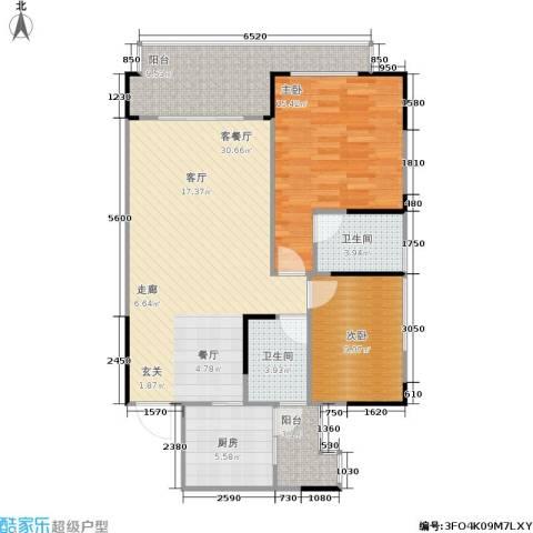 聚信广场2室1厅2卫1厨81.23㎡户型图