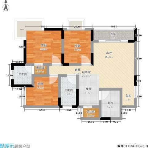 黄金堡生活家3室0厅3卫1厨80.00㎡户型图