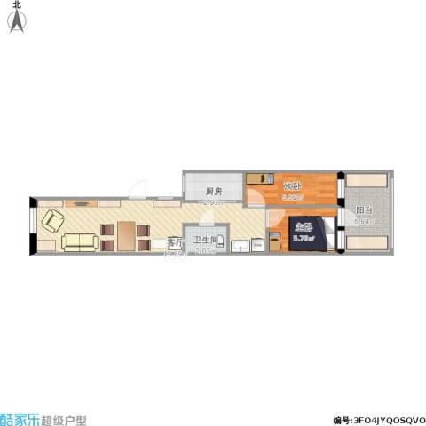 酒仙桥十街坊2室1厅1卫1厨60.00㎡户型图
