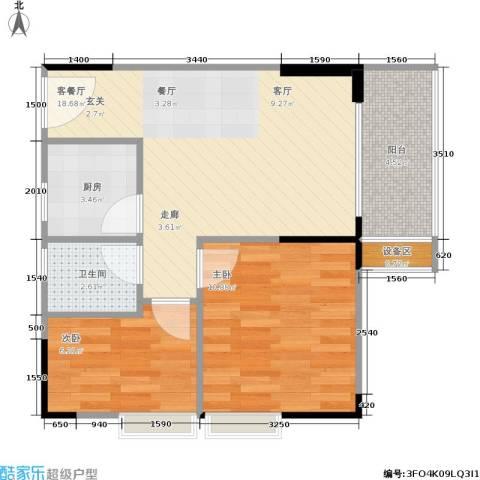 明发尚都国际2室1厅1卫1厨65.00㎡户型图