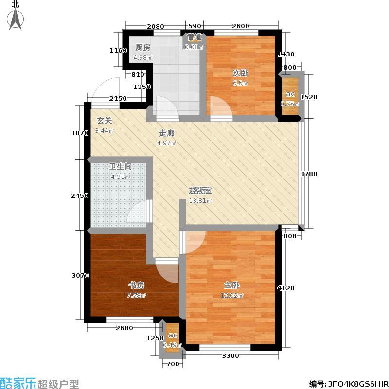 凤河孔雀城瞰景堡A3户型 三室二厅一卫户型3室2厅1卫