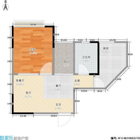 明发尚都国际1室1厅1卫1厨50.00㎡户型图