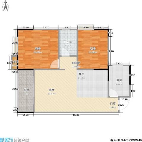 明发尚都国际2室1厅1卫1厨101.00㎡户型图
