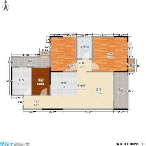 明发尚都国际3室1厅1卫1厨121.00㎡户型图
