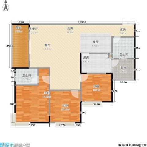 银海北极星3室1厅2卫1厨138.00㎡户型图