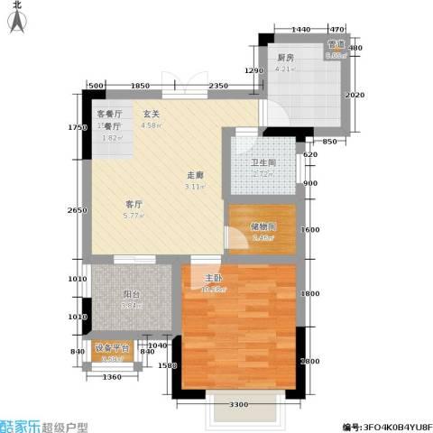 江南世家1室1厅1卫1厨59.00㎡户型图