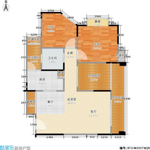 协能枫馨丽园2室0厅1卫1厨76.22㎡户型图