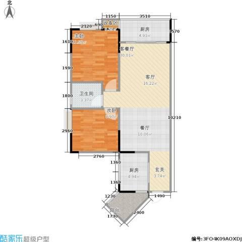 明发尚都国际2室1厅1卫2厨91.00㎡户型图