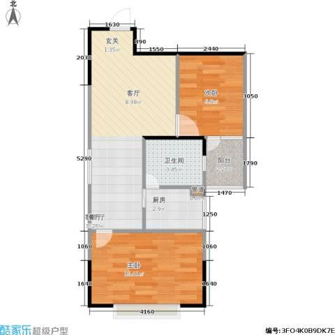 银海北极星2室1厅1卫1厨42.47㎡户型图
