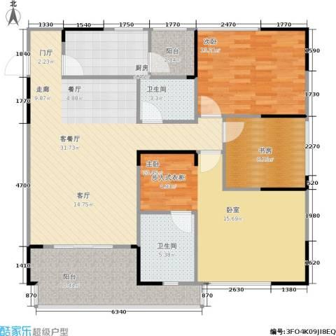 聚信广场3室1厅2卫1厨100.95㎡户型图