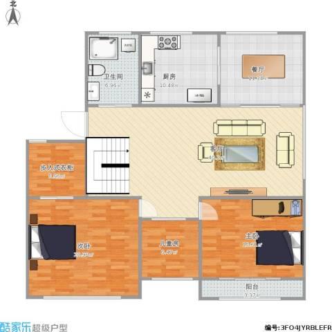 中包公寓3室2厅1卫1厨162.00㎡户型图