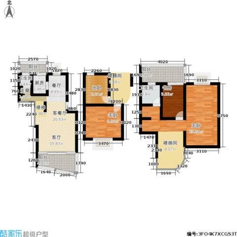 东方紫竹苑4室1厅2卫1厨104.00㎡户型图