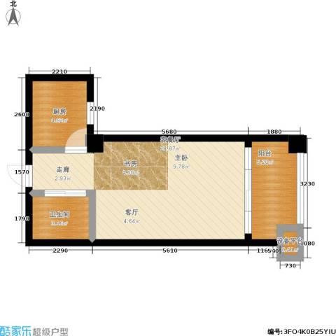 湖滨1号1厅1卫1厨53.00㎡户型图