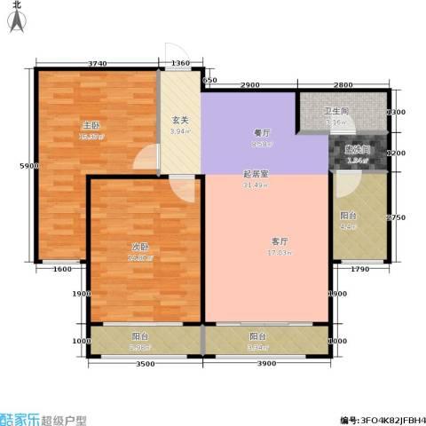 金水花城二期2室0厅1卫0厨90.00㎡户型图