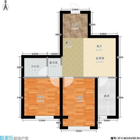 纳帕阳光2室0厅1卫1厨53.00㎡户型图