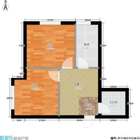 纳帕阳光2室1厅1卫1厨53.00㎡户型图