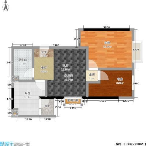 两江嘉苑2室0厅1卫1厨69.00㎡户型图