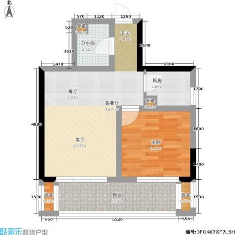 当代城1室1厅1卫1厨47.00㎡户型图