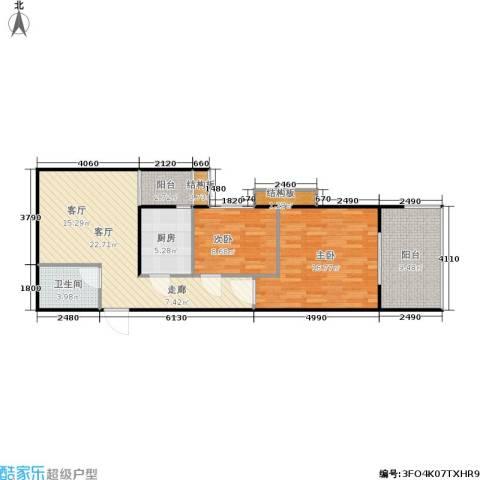 首秀2室1厅1卫1厨78.00㎡户型图