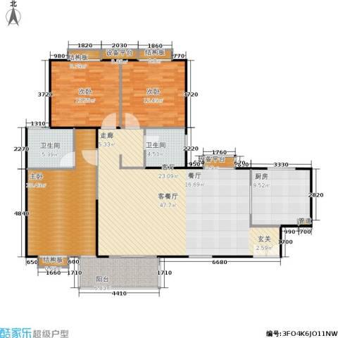 枫林绿洲A9公馆3室1厅2卫1厨131.00㎡户型图