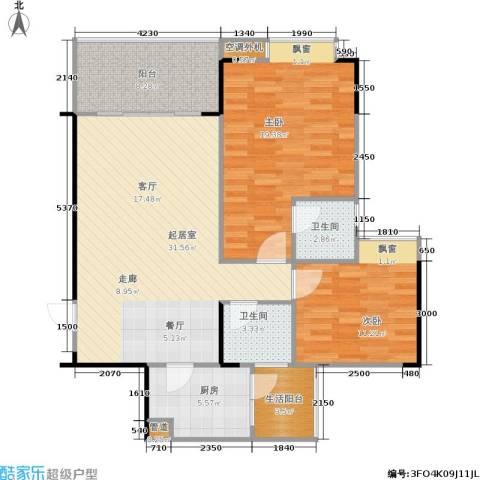 巨宇江南2室0厅2卫1厨117.00㎡户型图