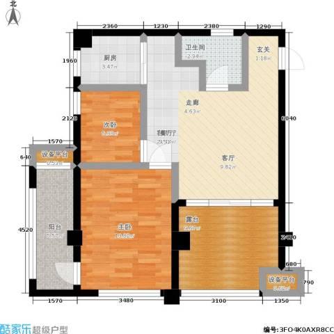 湖滨1号2室1厅1卫1厨95.00㎡户型图