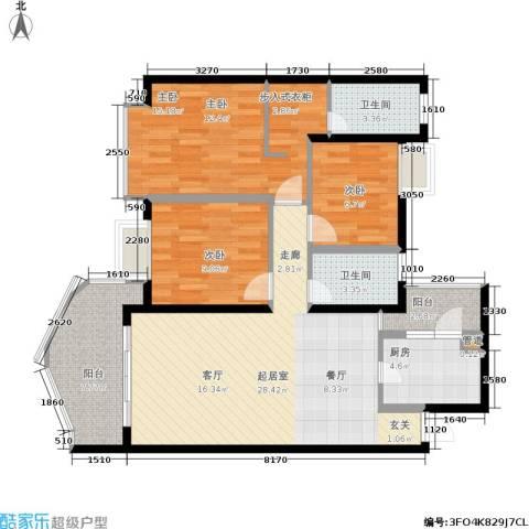 银泰新苑3室0厅2卫1厨93.00㎡户型图