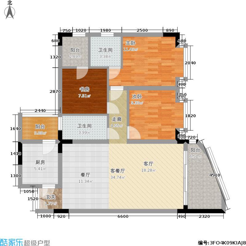 温馨家园户型3室1厅2卫1厨