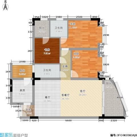 温馨家园3室1厅2卫1厨126.00㎡户型图