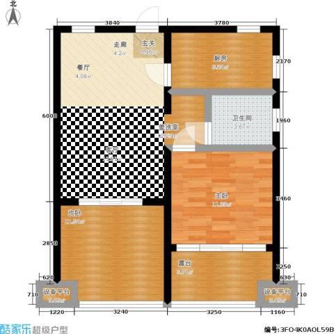 湖滨1号2室1厅1卫1厨92.00㎡户型图