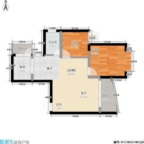 银泰新苑2室0厅1卫1厨55.00㎡户型图