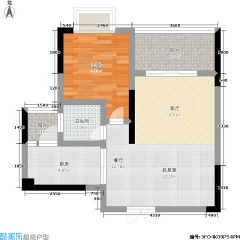 黄金堡宫1室0厅1卫1厨48.00㎡户型图