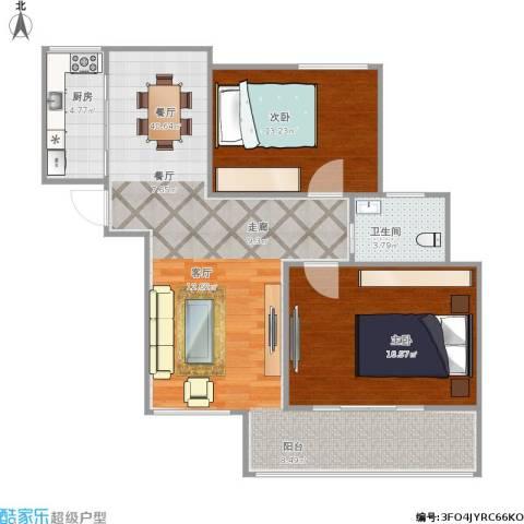 荷塘月色2室1厅1卫1厨106.00㎡户型图
