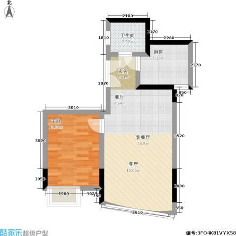 彩色奥邻1室1厅1卫1厨51.00㎡户型图