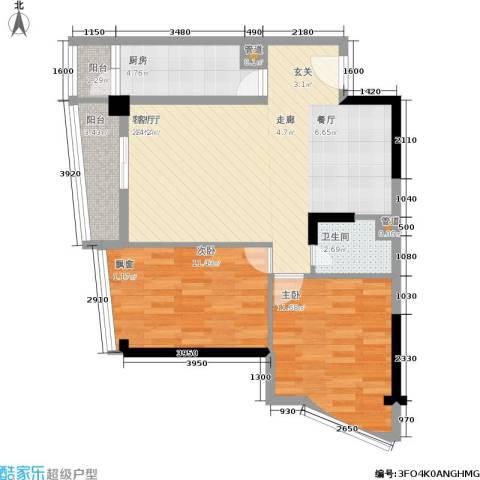 西部商城2室1厅1卫1厨74.00㎡户型图
