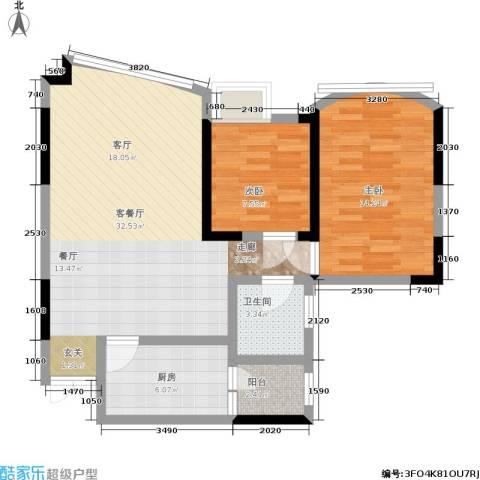 彩色奥邻2室1厅1卫1厨67.00㎡户型图