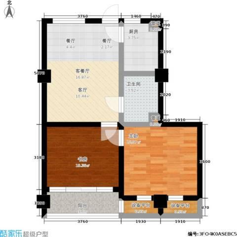 湖滨1号2室1厅1卫1厨79.00㎡户型图